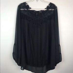 Torrid black sheer lace top shirt tunic blouse D15